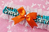 Customizable - Miami Dolphins fabric handmade into keepsake garter on white organza bridal prom wedding garter with bow wks