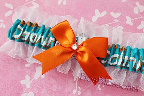 Customizable - Miami Dolphins fabric handmade into keepsake garter on white organza bridal prom wedding garter with bow wks by BOYX Designs