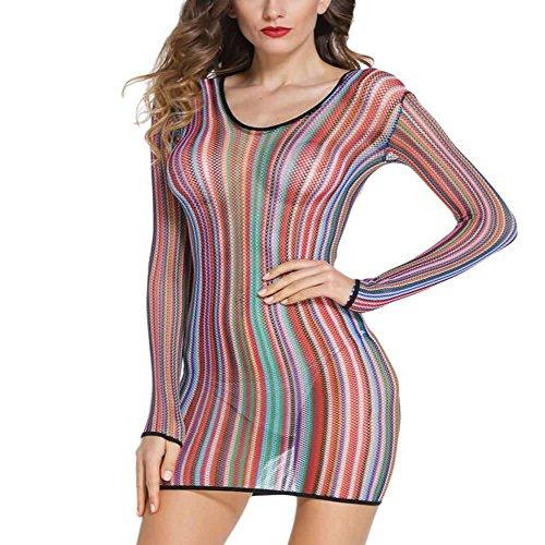 Net Long Sleeve Dress - 3