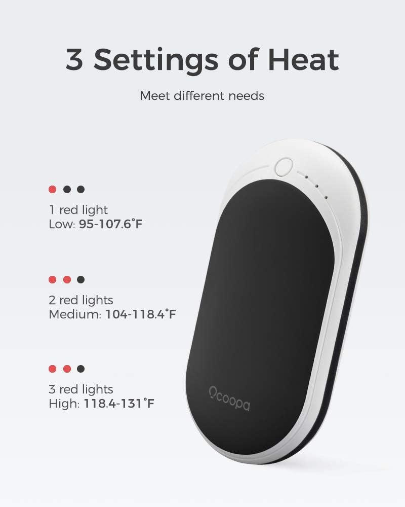 Calienta Manos Electr/ónico de Bolsillo Golfistas Bater/ía Externa de 5200mAh OCOOPA Calentadores de Manos Recargables USB Excelente para Raynauds Regalos para Cazadores Reusable,Port/átil