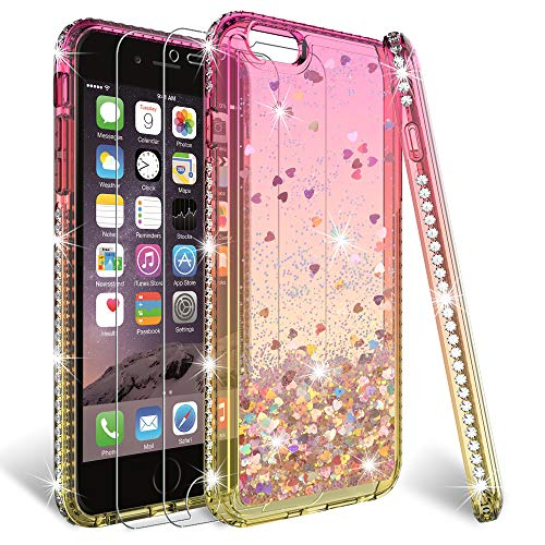 HATOSHI iPhone 6/6S Plus Glitter Case with Screen Protector Tempered Glass [2 Pack] for Girls Women, Floating Quicksand Sparkle Bling Diamond Clear Cute Protective Case for iPhone 6/6S Plus Pink/Gold