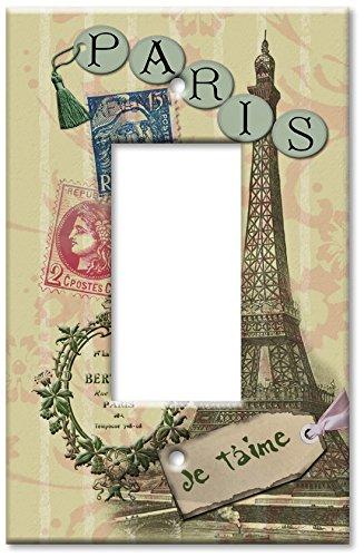 Art Plates - Single Gang Rocker OVERSIZE Switch Plate/OVER SIZE Wall Plate - Paris Je T'aime