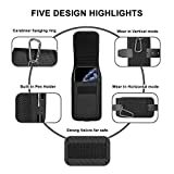 ykooe Cell Phone Pouch Nylon Holster Case with Belt Clip Cover for iPhone 11, Pro, Max, 6 7 X, Samsung Galaxy A10, A20, A50, S7, S8, S9, S10, S20 Huawei, Motorola, Other Smartphone