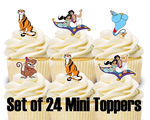 24 Mini Cupcake Toppers Aladdin Birthday Party Cake