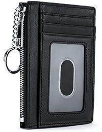 Leather Zip Credit Card Holder Wallet with ID Window Keychain RFID Blocking
