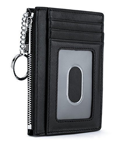 Slim Genuine Leather Credit Card Holder Front Pocket Wallet with ID Window Zipper Pocket Key Chain RFID Blocking - Black