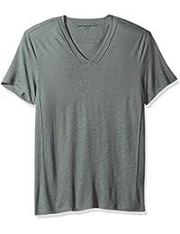 Men's Short Slleve Knit V-Neck with Pintuck Details