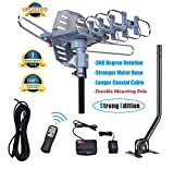 150 Miles Range-Amplified Digital Outdoor TV Antenna with Mount Pole-4K/1080p High Reception-40FT Coaxial