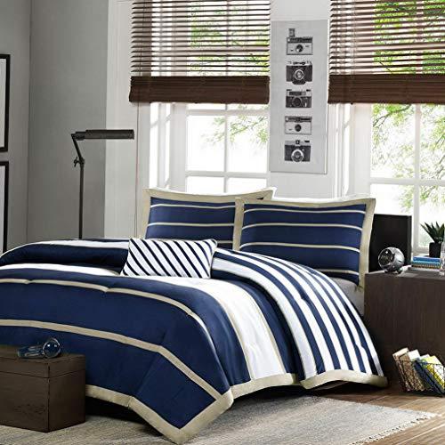 Kaputar Cozy Blue Navy Khaki Beige TAN Chevron Sport Stripe BOY Soft Comforter Set   Model CMFRTRSTS - 2592   Full