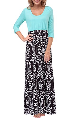 Zattcas Womens Contrast 3/4 Sleeve Empire Waist Floral Print Maxi Dress (X-Large, Black White)