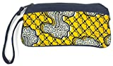 Dsenyo Women's Cotton and Denim Wristlet with Pockets Yellow Paisley 8 x 4.5 Inches