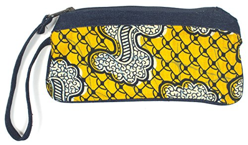 Dsenyo Women's Cotton and Denim Wristlet with Pockets Yellow Paisley 8 x 4.5 Inches by Dsenyo