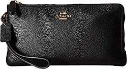 Coach Women S Polished Pebbled Double Zip Wallet Li Black Checkbook Wallet