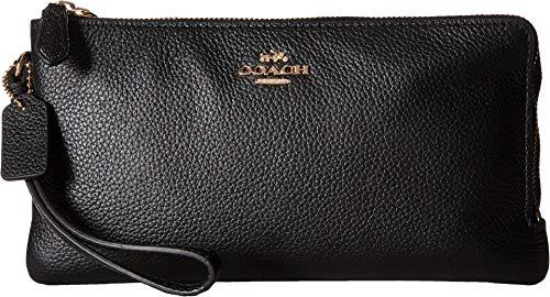 COACH Women's Polished Pebbled Double Zip Wallet LI/Black Checkbook Wallet Clutch Wallets Coach Wallet