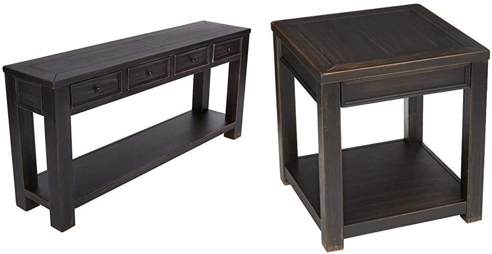 Signature Design by Ashley - Gavelston Console Table, Rubbed Black Finish & Gavelston End Table, Rubbed Black Finish