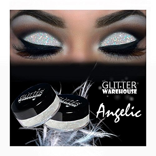 Angelic GlitterWarehouse White Irredescent Loose Glitter Powder Great for Eyeshadow / Eye Shadow, Makeup, Body Tattoo, Nail Art and More!