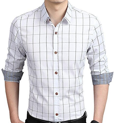 (Aiyino Men's 100% Cotton Long Sleeve Plaid Slim Fit Button Down Dress Shirt US M White )