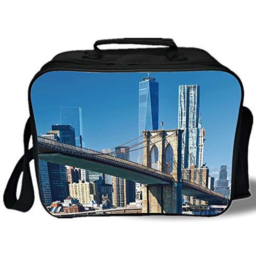 United States 3D Print Insulated Lunch Bag,Lower Manhattan Skyline Brooklyn Bridge in New York City Famous Landmark,for Work/School/Picnic,Light Blue Tan