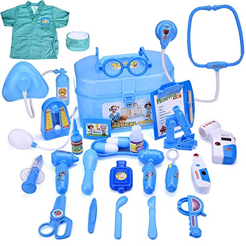 FUN LITTLE TOYS Doctor Kit for Kids, Pretend Play Doctor Playset with Doctor Costume, Medical Kit for Toddlers, Boys and Girls, 27 pcs -