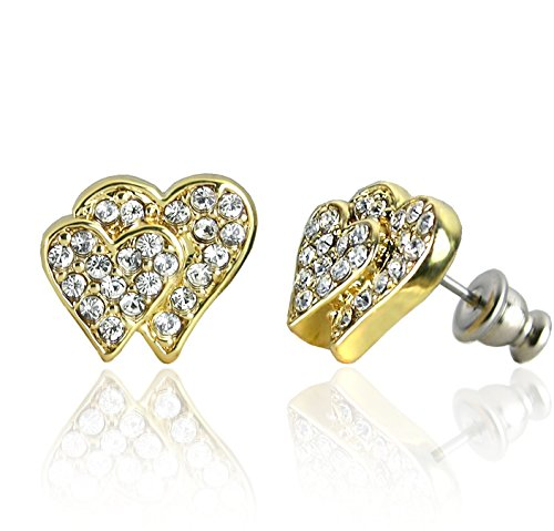 Forever Gold Austrian Crystal Double Heart Earrings Surgical Steel Posts & Comfort Backs E193G - Original Double Act Costumes