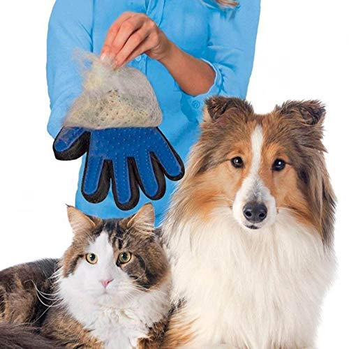 Byronde One Pair for 1pcs Right Hand and 1pcs Left and Blue Pet Dog Cat Grooming Glove Dirt Hair Remover Brush Glove for…