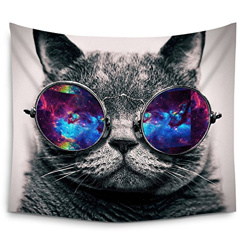 Mugod Galaxy Hipster Cat Wear Color Sunglasses Wall Tapestry Hanging - Polyester Fabric Wall Art Tapestries Home Decor - 60