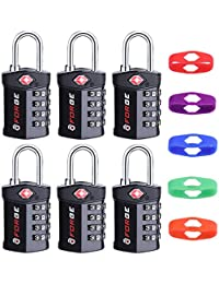 4 Digit TSA Approved Luggage Lock, 6 Pack with extra bands, Change Your Own Color and Combination, Inspection Indicator, Alloy Body