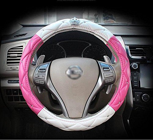 Full Sparkly Rhinestone car Steering Wheel Cover Universal Leather Steering Wheel Cover Auto Car Styling Interior Decor Accessories (crown white&pink)