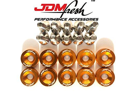 Jdm Engine Parts (JDMFresh Gold CNC Billet Aluminum Engine Bay Fender Washer Bolt Dress Up Kit For 6mm)