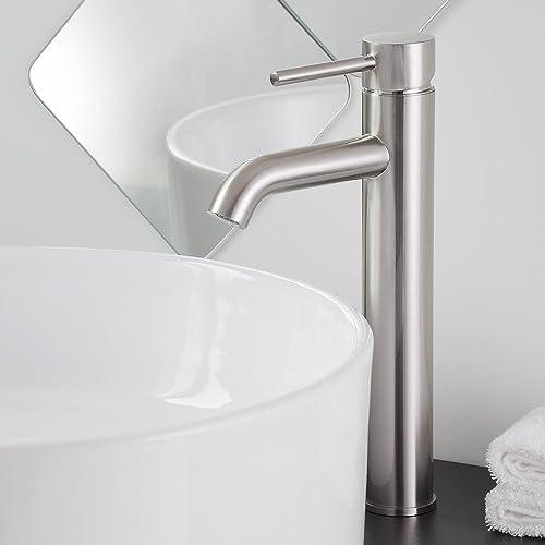 Aquaterior Bathroom Vessel Sink Faucet Single Handle One Hole Tall Body Bathroom Faucet Nickel 12-1 2 CUPC NSF