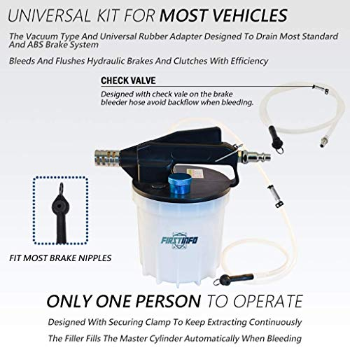 FIRSTINFO 2 Liter Pneumatic Brake Fluid Vacuum Extractor and Automatic Brake Fluid Bleeder/Pump Kit Include 4.9 ft Long Silicon Brake Fluid Hose with Check Valve by FIRSTINFO TOOLS FIT YOUR NEEDS (Image #1)