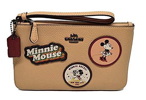 Coach X Disney Minnie Mouse Patch Sm Leather Wristlet Beechwood