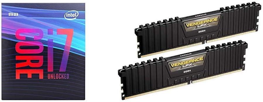 Intel Core i7-9700K Desktop Processor 8 Cores up to 4.9 GHz Turbo Unlocked and Corsair Vengeance LPX 16GB (2x8GB) DDR4 DRAM 3000MHz C15 Desktop Memory Kit - Black (CMK16GX4M2B3000C15)