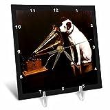 3dRose LLC dc_39018_1 Desk Clock, 6 by 6-Inch, Vintage Race Dog and Victrola For Sale