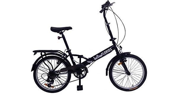 20 pulgadas bicicleta plegable Florida con portaequipajes, bolsa y LED Iluminación, negro: Amazon.es: Deportes y aire libre