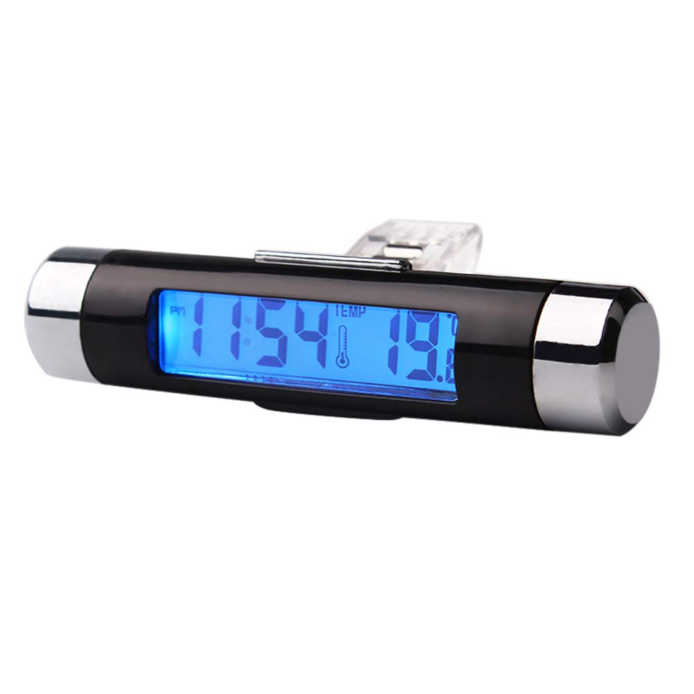 RUNGAO Blue Back Light 2 in 1 Air Vent Outlet Car Clock Thermometer Car Digital Time LCD Display Screen Car Styling Auto Accessories