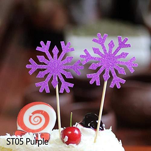 Autumn Water 10/20/40pcs Cute Snow Cake Cupcake Topper