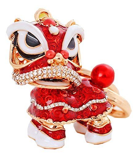 Wander Agio Fashion Jewelry Sweater Key Chains Fs Keychain Bag Gift Chinese Lion (Red Lion Diamond)