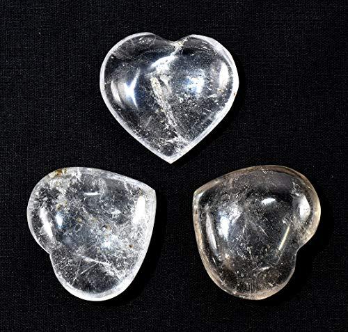 35mm Clear Quartz Heart Polished Sparkling Natural Gemstone Crystal Mineral Decor Specimen - China (1PC) ()