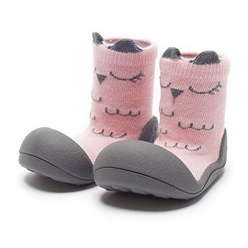 Attipas Best First Walker Shoes Baby Cotton Socks Shoes Non Toxic Safe Great Baby Registry Gifts (US Toddler 5.5, Cutie Pink) by Attipas