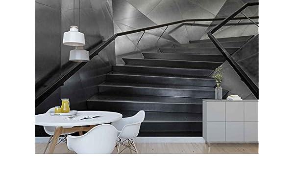 Papel Tapiz Fotomural - Metal Acero Textura Escalera De Caracol - Tema Arquitectura - XL - 368cm x 254cm (an. x alto) - 4 Tiras - impreso en papel 130g/m2 EasyInstall -