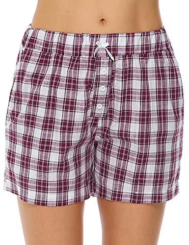 Aibrou Womens Pajama Shorts Cotton Plaid Sleep Shorts Lounge Boxer with Pockets (Red, - Sleep Boxer Shorts