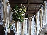 5 ft Rustic Lace Garland, Burlap Garland, Rag Bunting, Home Decor, Wedding Prop, Fabric Banner, Shabby Chic Garland