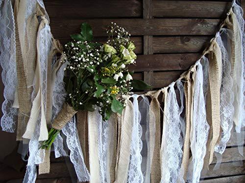 5 ft Rustic Lace Garland, Burlap Garland, Rag Bunting, Home Decor, Wedding Prop, Fabric Banner, Shabby Chic Garland -