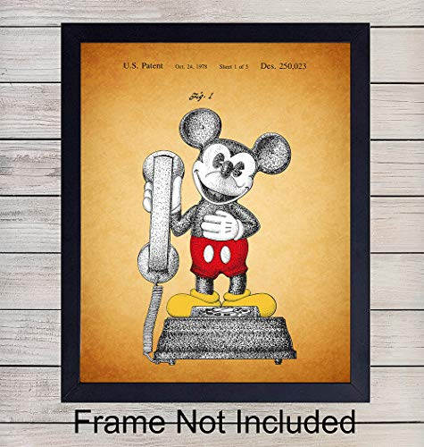 Colorful Mickey Mouse Phone Patent Wall Art Print - 8X10 Vintage Unframed Photo - Perfect Gift For Disney Fans, Great For Home Decor