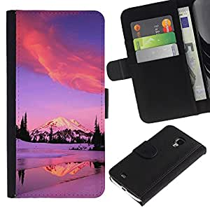 For Samsung Galaxy S4 Mini i9190 MINI VERSION!,S-type® Winter Alaska Mountains Lake Pink Purple - Dibujo PU billetera de cuero Funda Case Caso de la piel de la bolsa protectora