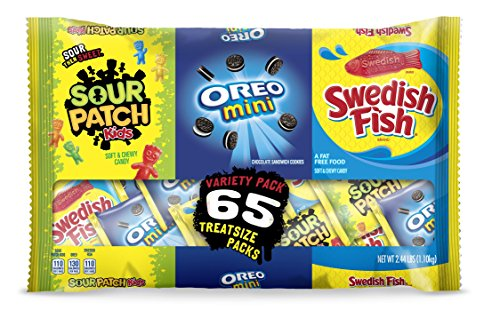 Sour Patch Kids, Swedish Fish, Oreo Seasonal Halloween Treat Size Candy Assortment, 39.04 Ounce