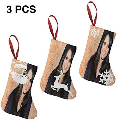 クリスマスの日の靴下 (ソックス3個)クリスマスデコレーションソックス Selena Gomez クリスマス、ハロウィン 家庭用、ショッピングモール用、お祝いの雰囲気を加える 人気を高める、販売、プロモーション、年次式