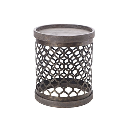 Intelligent Design Cirque Reclaimed Quatrefoil Metal Drum Grey (Tables Drum)