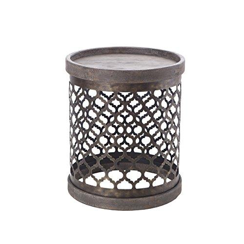 Rustic Round Quatrefoil Metal Chairside Drum Table in Reclai